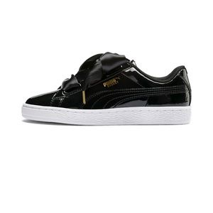 Puma Black Patent Heart Sneakers